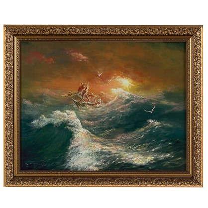 Картина в раме 40x50 см Лодка шторм