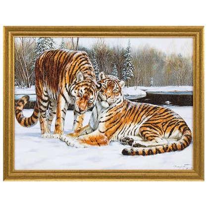 Купить Картина в раме Амурские тигры 30х40 см дешевле