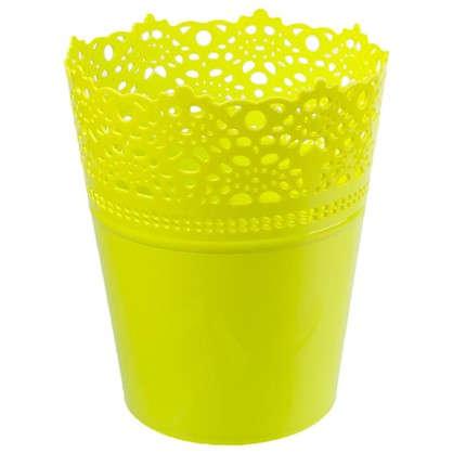 Купить Кашпо Ажур зелёный 150 мм пластик дешевле