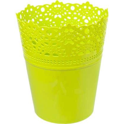 Купить Кашпо Ажур зелёный 185 мм пластик дешевле