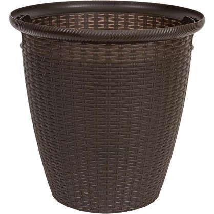 Кашпо Ротанг 30 л 38 см полипропилен с внутренней вставкой цвет коричневый