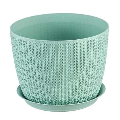 Купить Кашпо с поддоном Вязание 1.1 л 135 мм цвет фисташковый дешевле