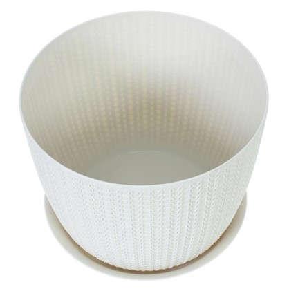 Купить Кашпо с поддоном Вязание 1.9 л 155 мм ротанг цвет белый дешевле