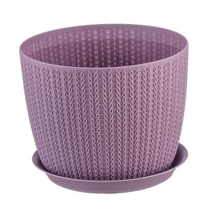 Кашпо с поддоном Вязание 2.8 л 180 мм цвет пурпурный