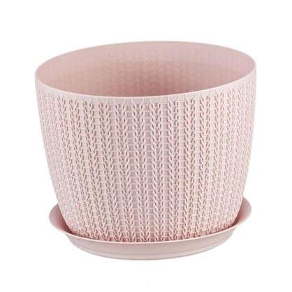 Купить Кашпо с поддоном Вязание 4.5 л 210 мм цвет чайная роза дешевле