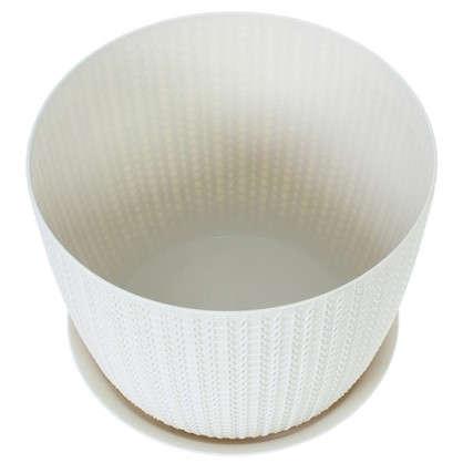 Купить Кашпо с поддоном Вязание 4.5 л 210 мм ротанг цвет белый дешевле
