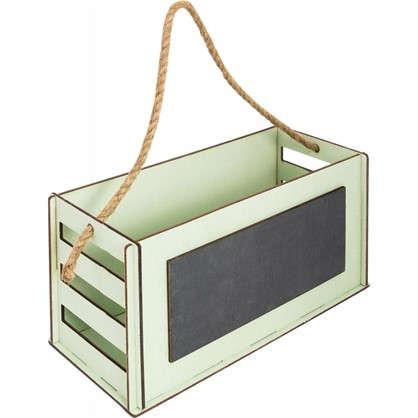 Кашпо-ящик с грифельной доской 270х130х115 мм дерево цвет оливковый