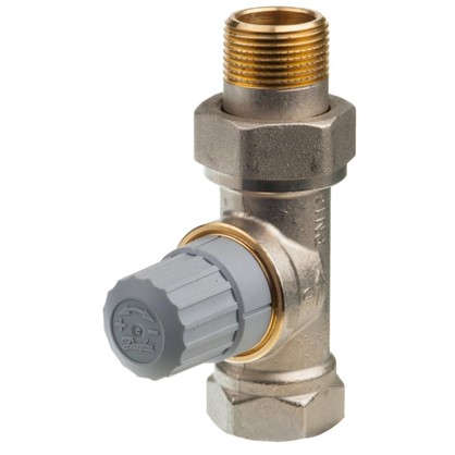 Клапан для радиатора запорный с выносным датчиком прямой для однотрубной системы отопления 3/4 дюйма
