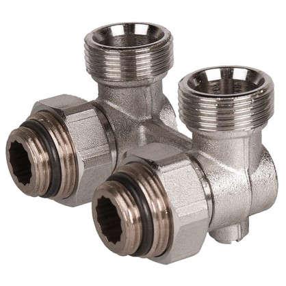 Клапан для радиатора запорный угловой Н-образный РОСТерм для двухтрубной системы отопления 1/2 дюйма