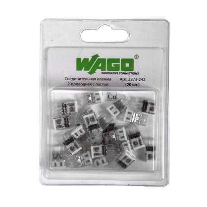 Клемма соединительная Wago 2 разъёма под провода с пастой 10х5.8х16.7 мм полиамид 20 шт.