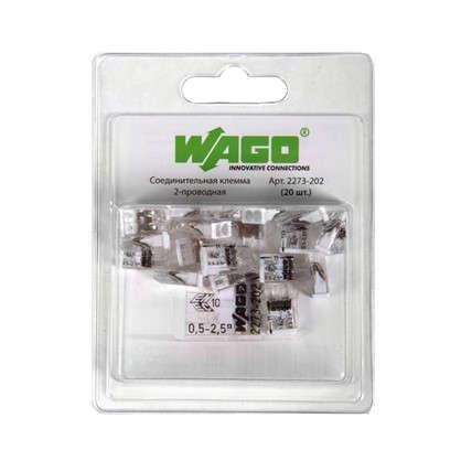 Клемма соединительная Wago 2273-202 2 разъёма под провода 10х5.8х16.7 мм поликарбонат 20 шт.
