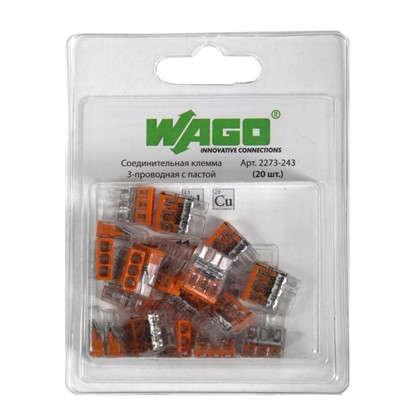 Клемма соединительная Wago 3 разъема под провода с пастой 14х5.8х16.7 мм поликарбонат 20 шт.