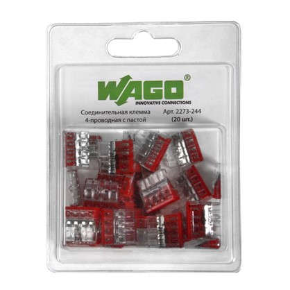 Купить Клемма соединительная Wago 4 разъёма под провода с пастой 18х10.4х16.7 мм поликарбонат 20 шт. дешевле