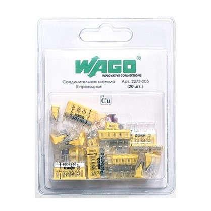 Клемма соединительная Wago 5 разъемов под провода 22х5.8х16.7 мм поликарбонат 20 шт.
