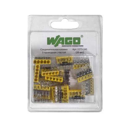 Клемма соединительная Wago 5 разъёмов под провода с пастой 22х5.8х16.7 мм поликарбонат 20 шт.