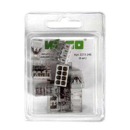 Клемма соединительная Wago 8 разъёмов под провода с пастой 18х10.4х16.7 мм 6 шт.