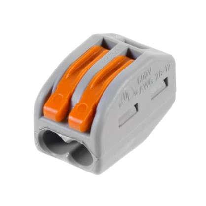 Клемма Wago 2 разъема под провода 12.4х14.5х20.5 мм полиамид 5 шт.
