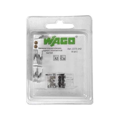 Клемма Wago 2 разъема под провода с пастой 10х5.8х16.7 мм поликарбонат 6 шт.