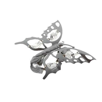 Купить Клипса Бабочка металл цвет хром дешевле