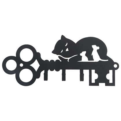 Купить Ключница DuckandDog Кот 190х99х19 мм сталь цвет чёрный матовый дешевле
