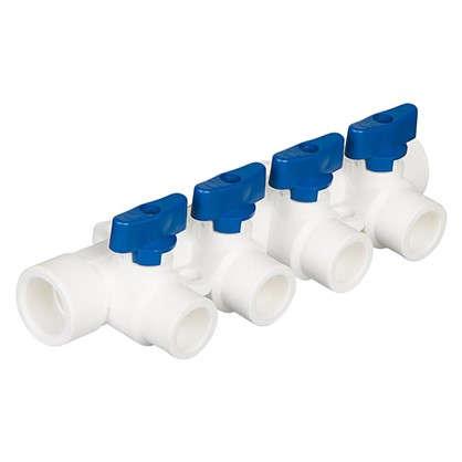Купить Коллектор Тебо 4 выхода с кранами 25х20 мм полипропилен дешевле