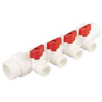 Купить Коллектор Тебо 4 выхода с кранами 32х20 мм полипропилен дешевле