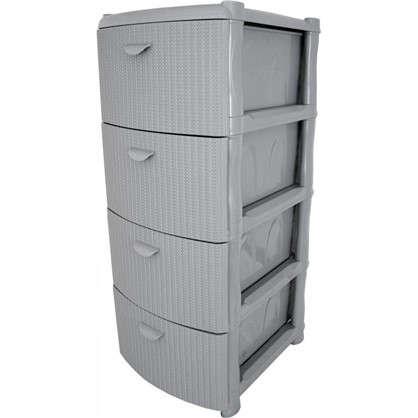 Купить Комод Вязание 4 ящика 40.5х96х50.5 см цвет серый дешевле