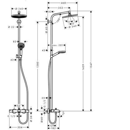 Комплект для душа Hansgrohe Showerpipe с термостатом