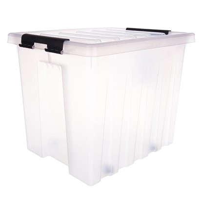 Купить Контейнер Rox Box с крышкой с роликами 39x40x50 см 50 л пластик цвет прозрачный дешевле