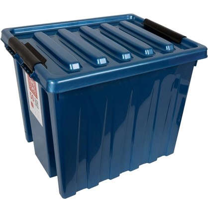 Контейнер Rox Box с крышкой с роликами 39x40x50 см 50 л пластик цвет синий