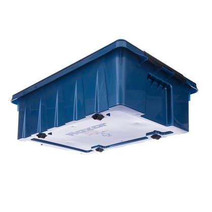 Контейнер Rox Box с крышкой с роликами 40x18x60 см 35 л пластик цвет синий