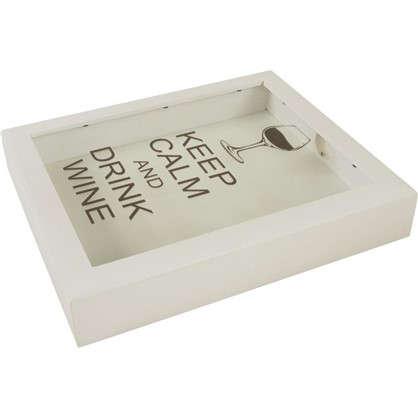 Купить Копилка для пробок Keep calm and Drink wine 22х26 цвет белый дешевле