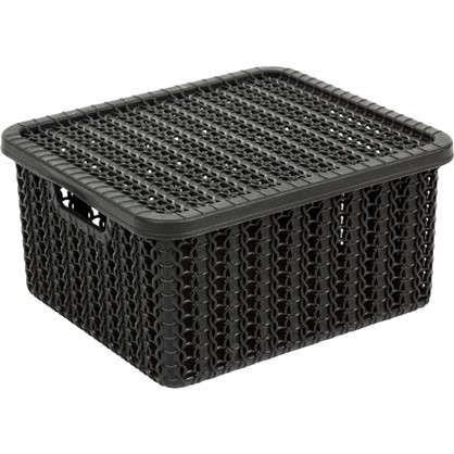 Коробка Вязание 1.5 л с крышкой цвет черный