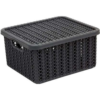 Коробка Вязание 1.5 л с крышкой цвет графит