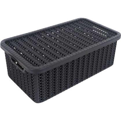 Купить Коробка Вязание 3 л с крышкой цвет графит дешевле