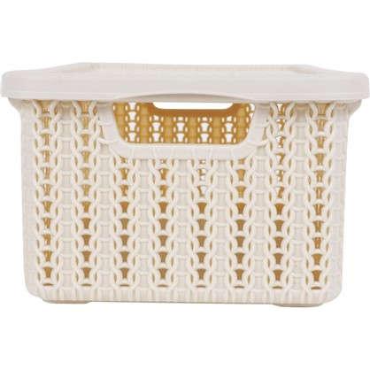 Коробка Вязание 3 л с крышкой цвет с лоновая кость