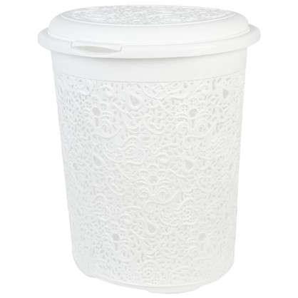 Купить Корзина для белья Кружево 50 л цвет белый дешевле