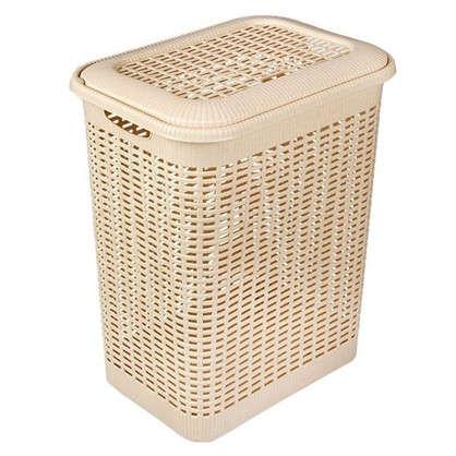 Купить Корзина для белья Rattan Style 50 л полипропилен цвет бежевый/коричневый дешевле