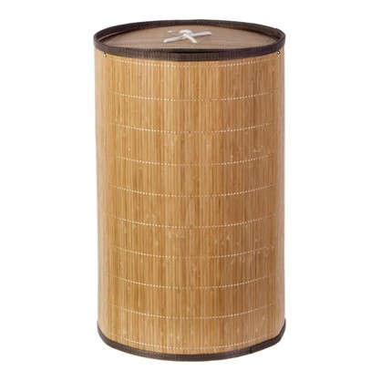 Купить Корзина для белья складная круглая 40 л бамбук дешевле