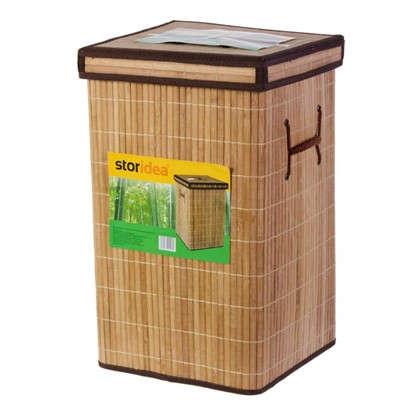 Корзина для белья складная квадратная 45 л бамбук