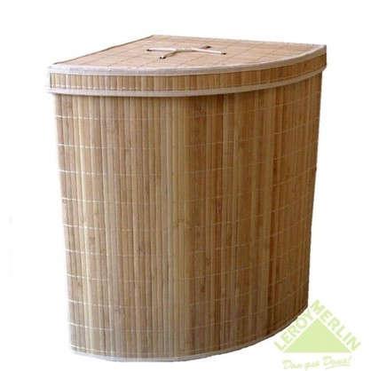 Купить Корзина для белья Storidea складная угловая с крышкой и чехлом бамбук/ткань цвет коричневый дешевле