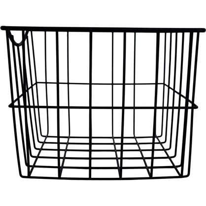 Купить Корзина для белья в шкаф 25х25х20 см цвет чёрный дешевле