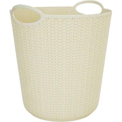 Корзина для мусора Вязание 260х290х260 мм 10 л цвет слоновая кость