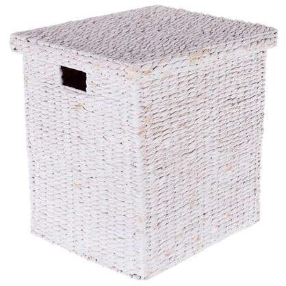 Корзина гиацинт с крышкой 42x45x37 см плетенье цвет белый