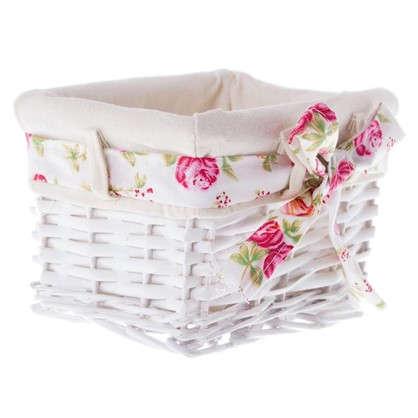 Купить Корзина Ива с декоративным чехлом 19x13x14 см плетенье цвет белый дешевле