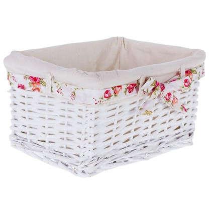 Купить Корзина Ива с декоративным чехлом 30x16x21 см плетенье цвет белый дешевле