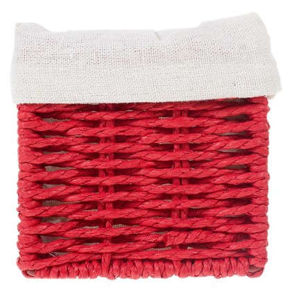 Купить Корзинка плетеная 10х10х20 см цвет белый/мята/коричневый/красный дешевле