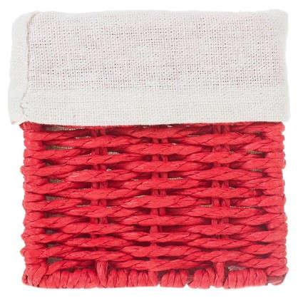 Корзинка плетеная 10х10х30 см цвет белый/мята/коричневый/красный