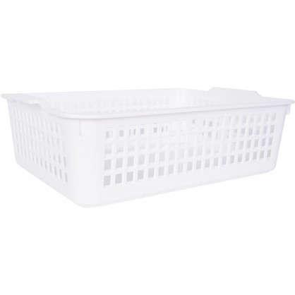 Купить Корзинка универсальная 315x220x85 мм пластик цвет белый дешевле
