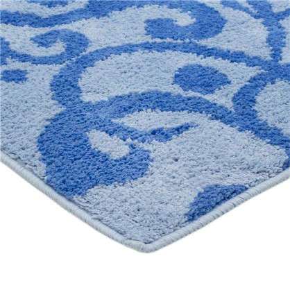 Коврик для туалета Mr Penguin Узоры 40х50 см микрофибра цвет синий